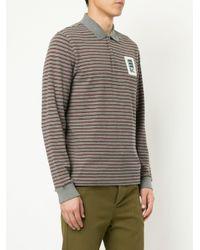 メンズ Kent & Curwen ストライプ ポロシャツ Gray