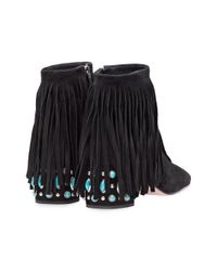 Prada Black Fringed Studded Heel Ankle Boots