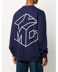 YMC Blue Long Sleeve Embroidered Logo Jumper for men