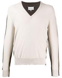 メンズ Maison Margiela Spliced Vネック セーター Multicolor