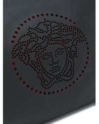 Versace Black Perforated Medusa Clutch for men