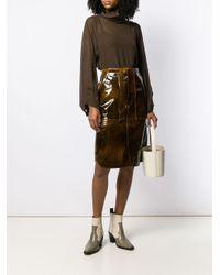 Camisa translúcida con cuello drapeado Erika Cavallini Semi Couture de color Brown