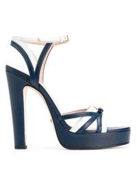 Босоножки С Декором Double G Gucci, цвет: Blue