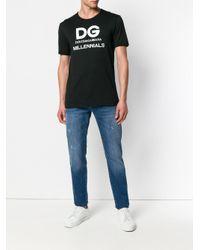 Dolce & Gabbana - Black T-Shirt mit Logo-Print for Men - Lyst