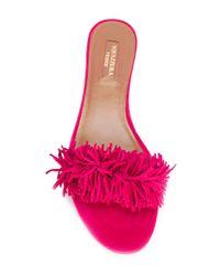 Aquazzura - Pink Wild Thing Slide Flats - Lyst