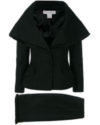 Dior Black Pre-owned Cape-like Skirt Suit