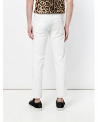 Dolce & Gabbana White Slim Fit Jeans With Contrast Stitching for men