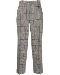 Pantalones rectos con motivo pied de poule PT01 de color Black