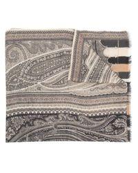 Foulard frangé à motif cachemire Etro en coloris Black