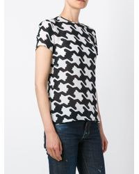 DSquared² White Houndstooth Print T-shirt