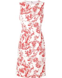 Vestido con estampado floral Oscar de la Renta de color White