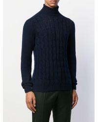 メンズ Tagliatore ケーブルニット セーター Blue