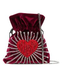 Les Petits Joueurs Red Embellished Heart Bucket Bag