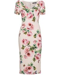 Dolce & Gabbana Pink Rose Print Silk Midi Dress