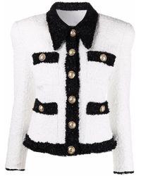 Balmain ツイード シングルジャケット White