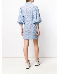 Ganni レース シャツドレス Blue