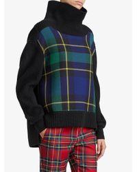 Burberry - Black Tartan Panel Turtleneck Sweater - Lyst