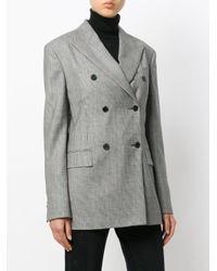Calvin Klein - Black Double-breasted Tweed Blazer - Lyst