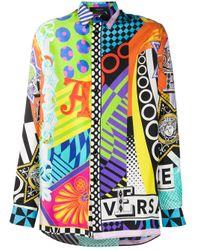 Versace Hemdjacke mit Print in Orange für Herren