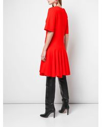 Oscar de la Renta Red Kleid mit tiefer Taille