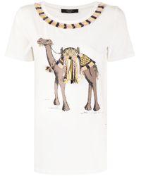 Weekend by Maxmara White Camel-print Crew Neck T-shirt