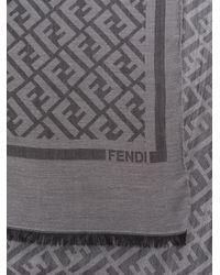 Écharpe à logo FF Fendi pour homme en coloris Gray