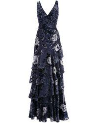 Ярусное Вечернее Платье С Цветочным Принтом Marchesa notte, цвет: Blue