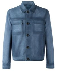 Prada - Blue - Boxy Leather Jacket - Men - Calf Leather/viscose - 48 for Men - Lyst