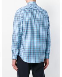Canali - Blue Checked Button-down Shirt for Men - Lyst