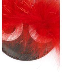 Porte-clés à pompon Fendi en coloris Red