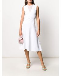 Vestido de punto stretch con paneles de malla Ferragamo de color White
