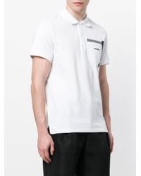 Dirk Bikkembergs White Logo Patch Polo Top for men