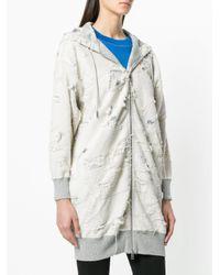DIESEL - Gray Distressed Longline Zipped Hoodie - Lyst