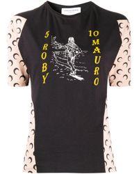 MARINE SERRE Black Colour Block T-shirt