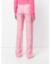 Plaid straight leg trousers di Victoria Beckham in Pink