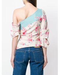 Vilshenko Pink Off-shoulder Floral Blouse
