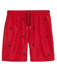 Burberry - Red Short de bain à logo for Men - Lyst