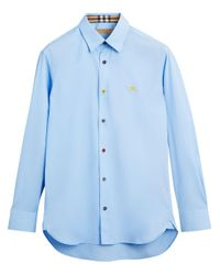 Burberry Blue Equestrian Embroidered Shirt for men