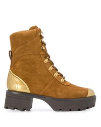 MICHAEL Michael Kors Brown Khloe Chunky Combat Boots