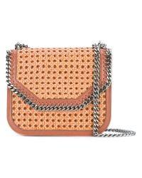 Stella McCartney Brown Tan Falabella Box Wicker Medium Shoulder Bag