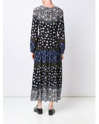 Suno - Black Floral Print Silk Dress - Lyst