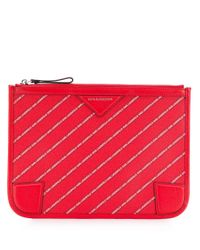 Karl Lagerfeld ロゴクラッチバッグ Red
