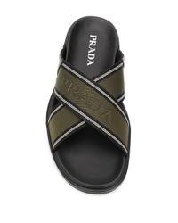 Prada Green Cross-strap Logo Sandals for men