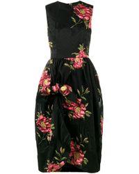 Floral-Cloqué Gathered Dress di Simone Rocha in Black
