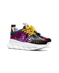 Versace Black Chain Reaction Leather Trainers