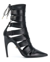 Versace - Black Pointed Lace-up Boots - Lyst