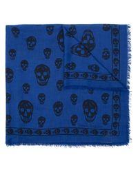 Écharpe à motif tête de mort Alexander McQueen pour homme en coloris Blue