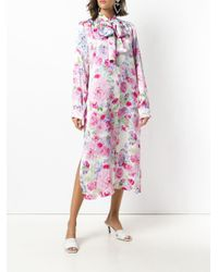 Saks Potts - Pink Pussy Bow Floral Dress - Lyst