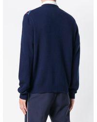Prada Blue Patterned Jumper for men
