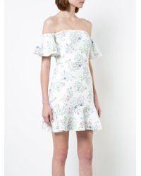 Saloni - White Floral Print Off The Shoulder Dress - Lyst